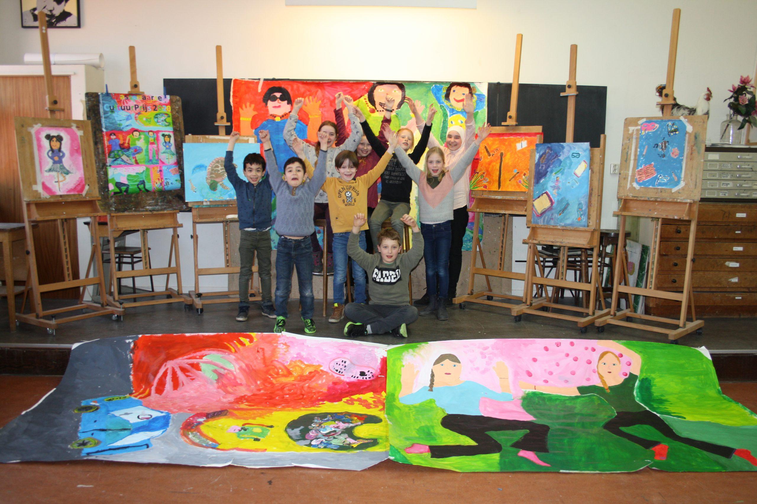 Jongeren maken kleurige poster in aanloop naar de Wassenaarse Cultuurprijs 2020