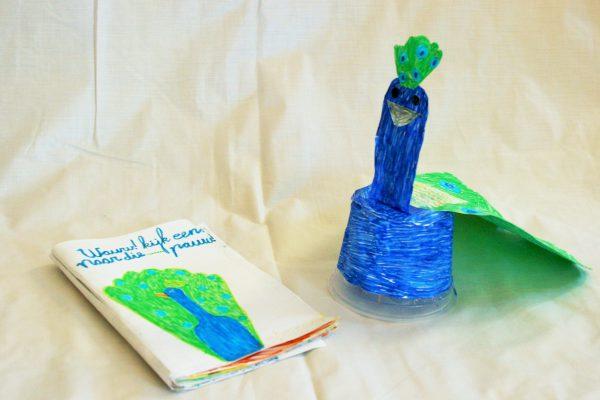 3D, viltstift op papier/karton, ca 20 x 15 x 20 cm.  …. Met eigen gemaakt pauwenboekje