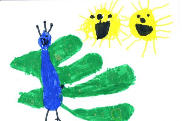 """Verf op papier   29 x 21 cm.  """"Ik ga de 500 Euro gebruiken voor de Montessorischool"""""""
