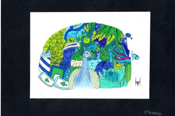 """Potlood/ viltstift op papier,  20 x 15 cm.  """"Ik ga de 500 euro  gebruiken voor kunstmateriaal op school zodat  betere tekenlessen kunnen worden gegeven. Ik ben voor deze tekening geïnspireerd door de Belgische artiest Vexx."""""""